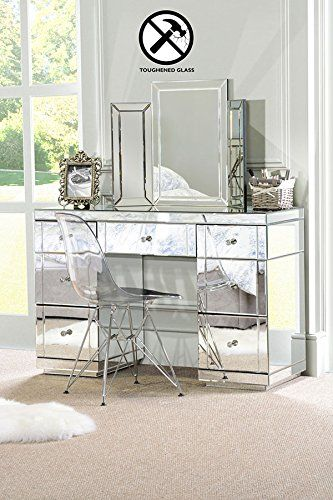 My Furniture Large Toughened Mirrored Dressing Table Desk