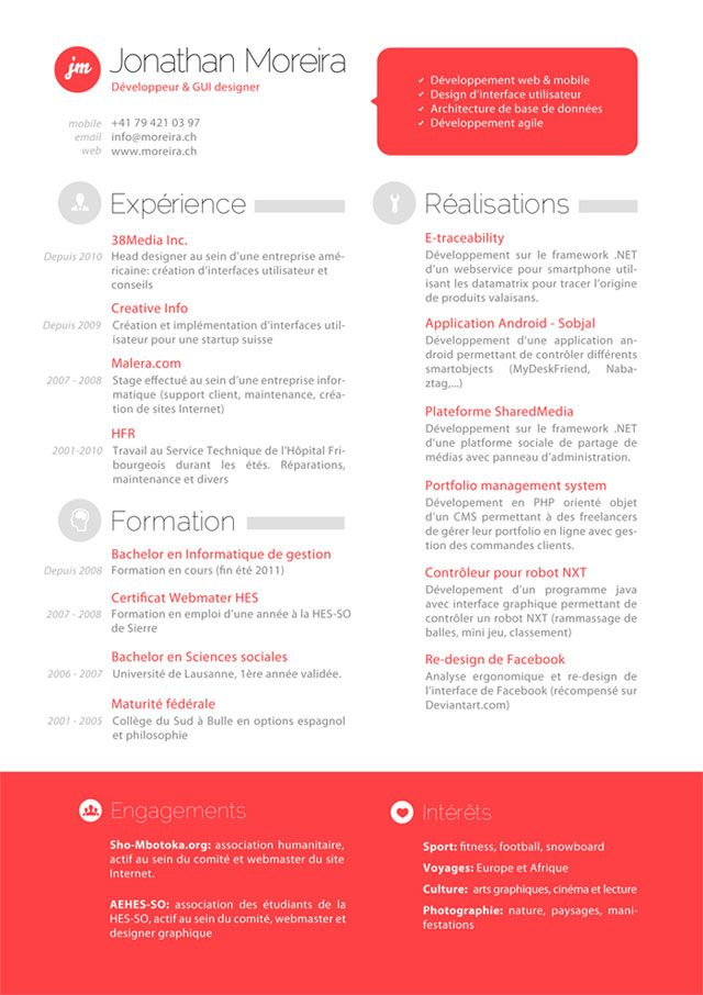 RESUME BY JONATHAN MOREIRA Promo Portfolio Resume Pinterest - gui designer resume