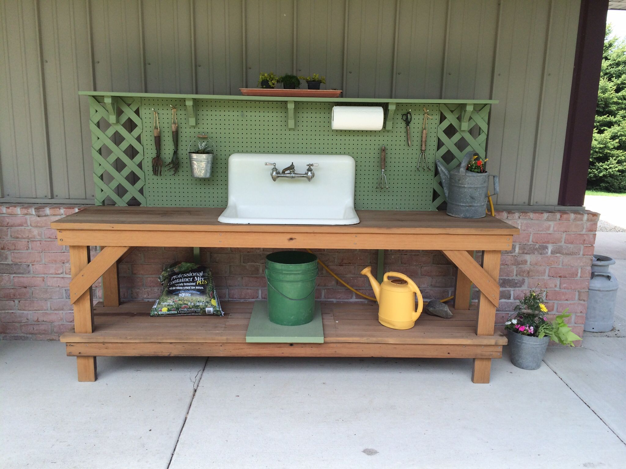 Potting Bench With Cast Iron Sink Constructed From Repurposed