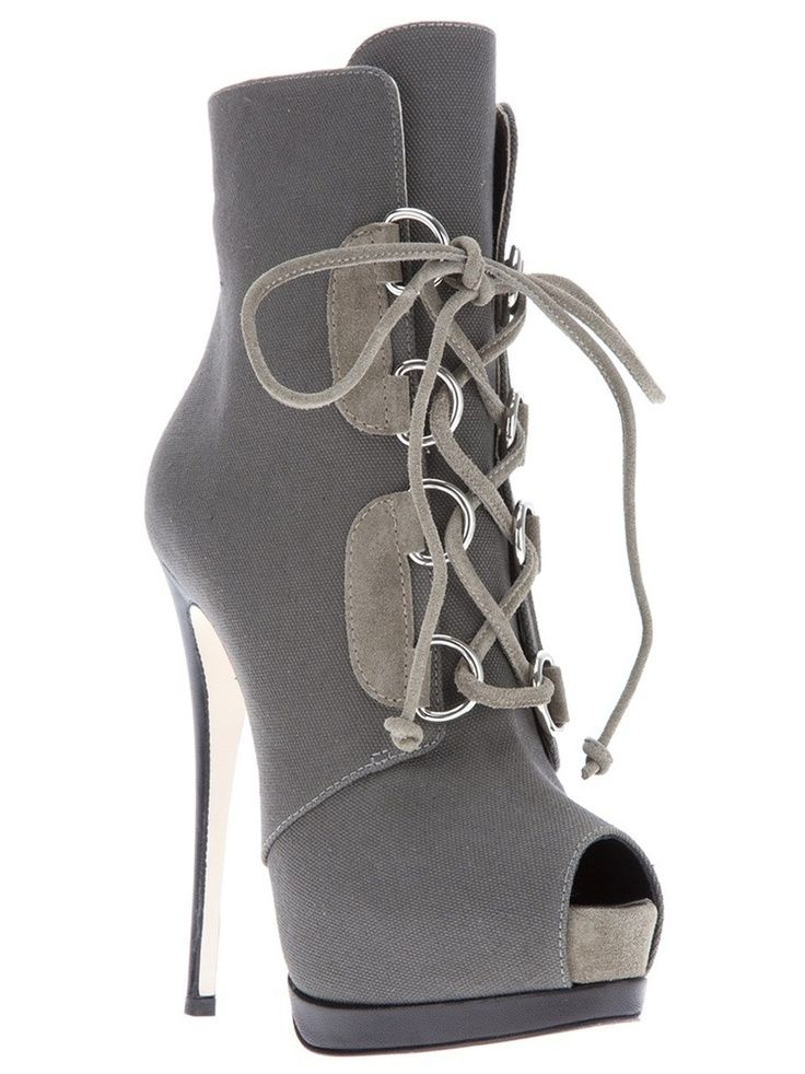 Giuseppe Zanotti CanvasTwo-Tone Peep Toe High Heel Boots