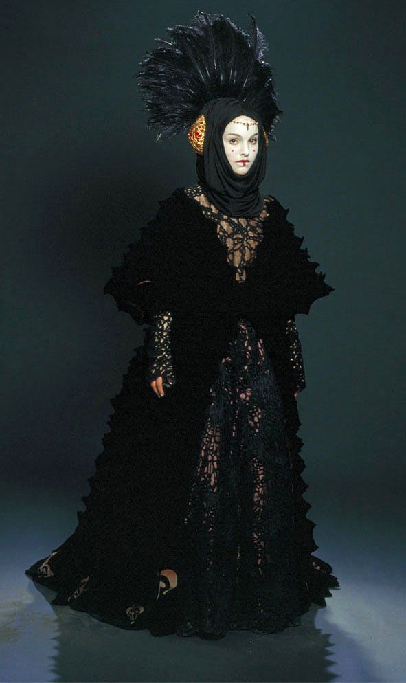 Queen Amidala the black invasion gown. Kiera Knightley wore this gown in the movie when she played Sabe. Natalie portman only wore it for the photos taken. She never wore it in the movie.