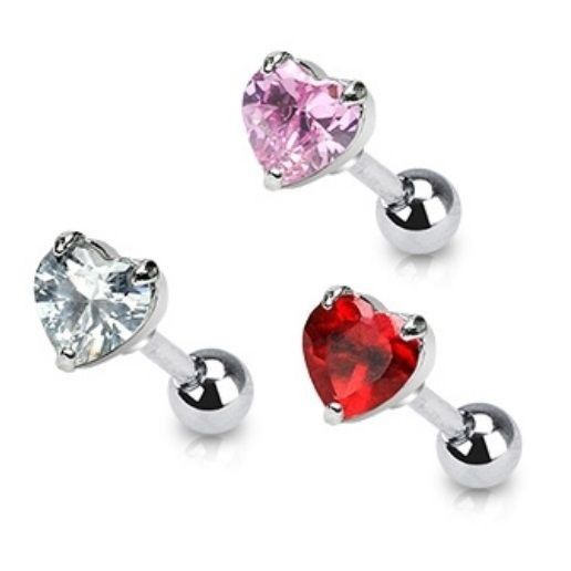 .925 Sterling Silver 9 MM CZ Ferido Style Heart Post Stud Earrings