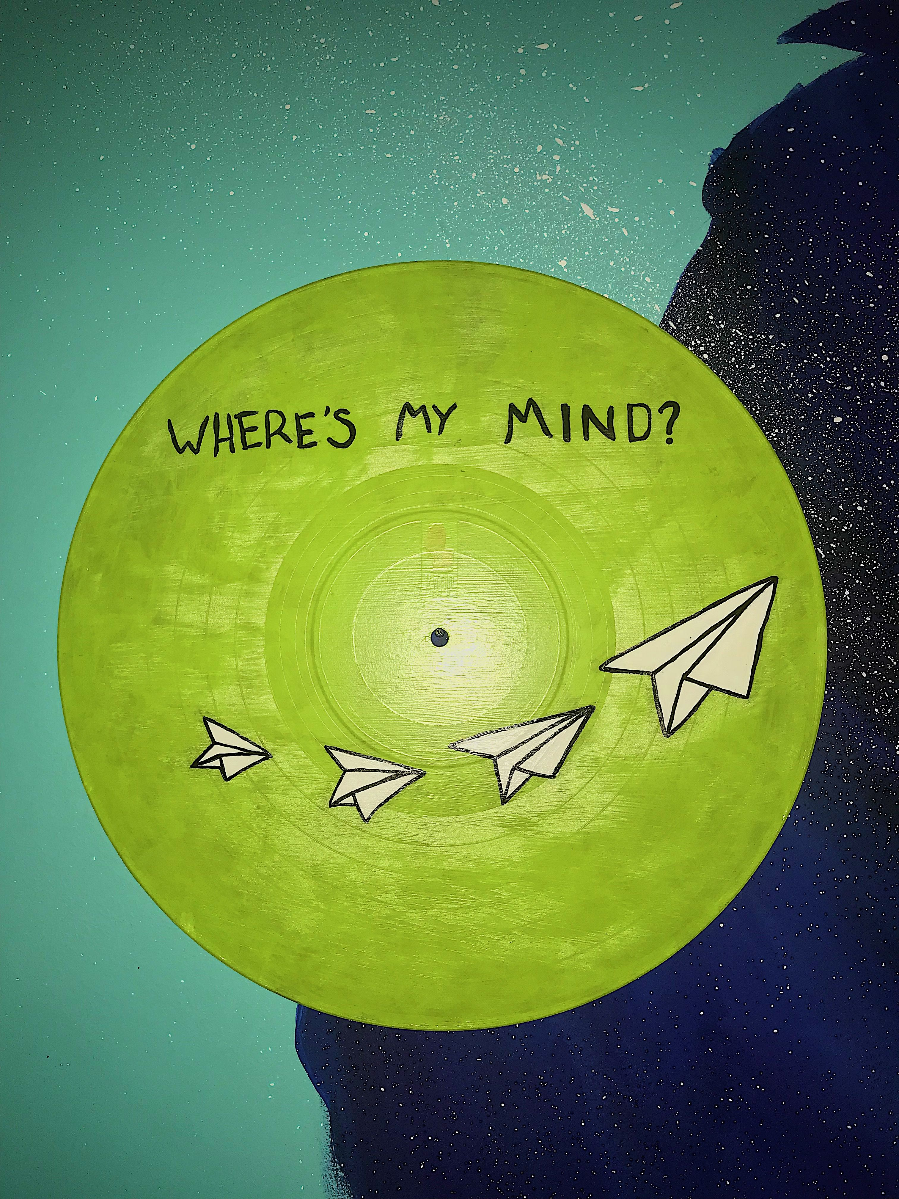Where S My Mind Painted Record Wall Art Etsy Record Wall Art Vinyl Art Paint Vinyl Record Art