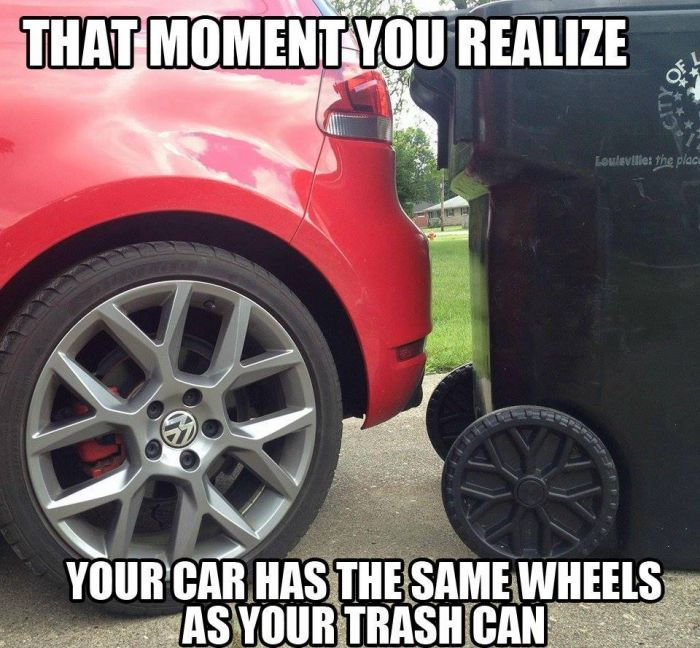 Vw Getting Into The Trash Can Game Car Jokes Car Memes Funny