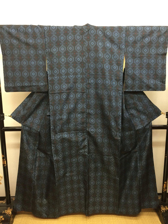 "SALE Oshima tsumugi  ""a variation of Tatsugo pattern ""Japanese silk pongee…"
