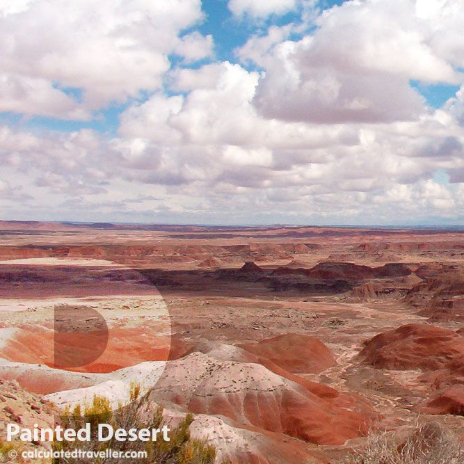 Painted Desert Arizona - Calculated Traveller Magazine  The varying colours of the sand/rock contrast with the bright blue sky…it's as if it was painted with a giant paint brush.