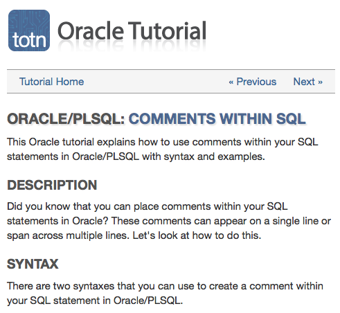 Oracle Tutorial Explains How To Use Comments Within Sql Statement