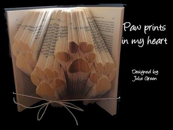 paw prints in my heart by Bookfoldanddecoupage on Etsy