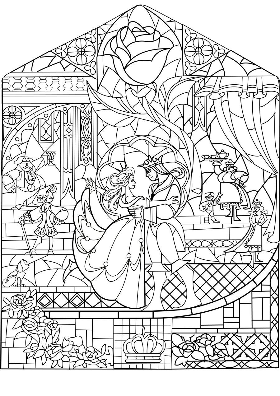Beauty and the beast stained glass coloring pages pinterest