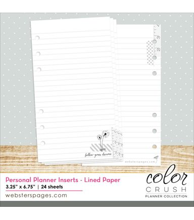 Websteru0027s Pages Color Crush Personal Planner Lined Paper Inserts - color lined paper