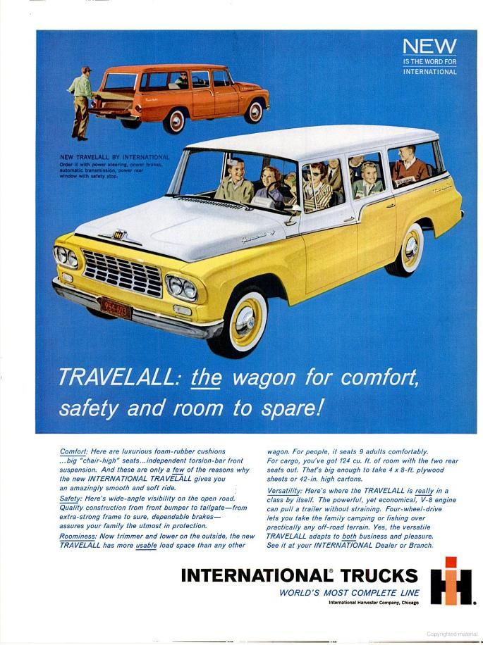 Fun ad from 1961 for international trucks travelall cars 39 drawings dessin voiture voiture et - Moissonneuse cars ...