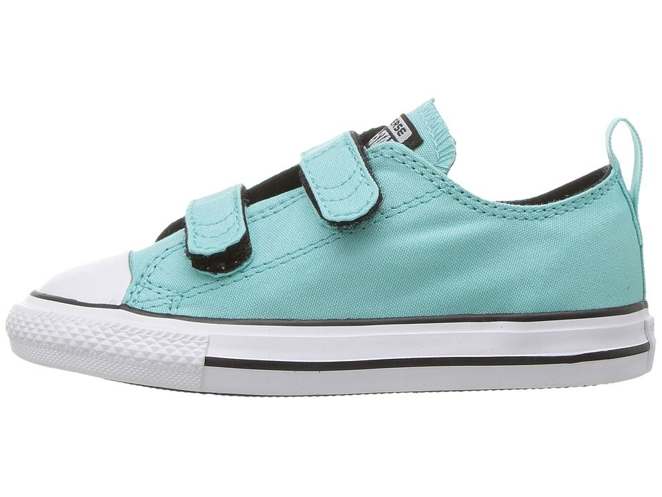 0b444c1d0aef3a Converse Kids Chuck Taylor(r) All Star(r) 2V Ox (Infant Toddler) Girls  Shoes Light Aqua Black White