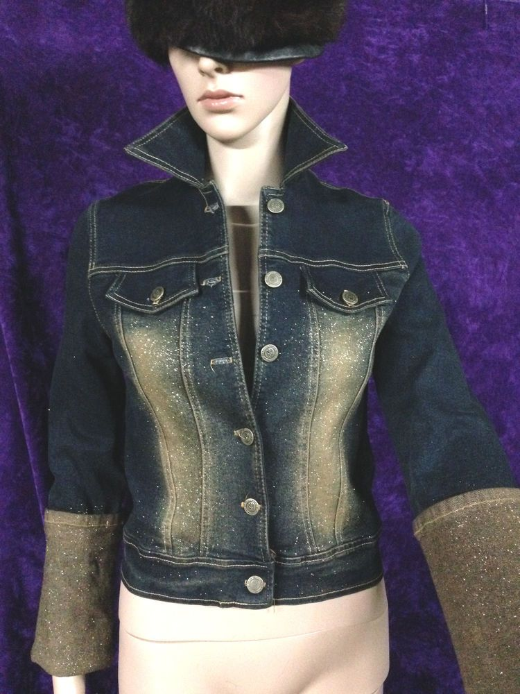 NEW XS S Dark Jean Jacket Denim Top Gold Bling Hip Hop 26 Stretchy Short Shirt #TWOSIX #JeanJacket