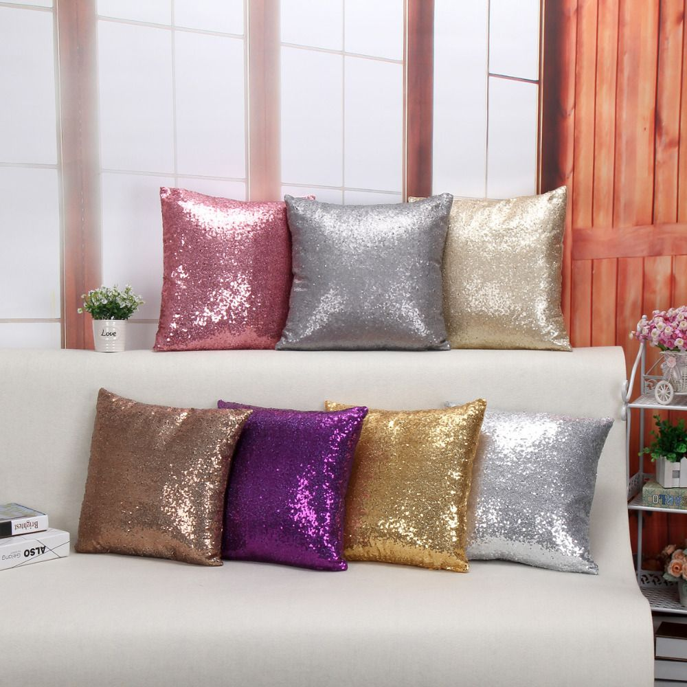 European 6 Color Sequins Pillow Cover Purple, Champagne, Gray, Gold, Silver,