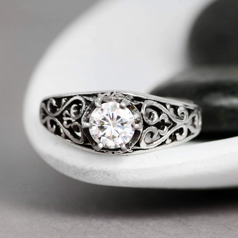 Vintageinspired filigree bridal ring sterling silver white