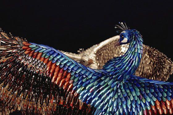 Stunning Peacock Sculptures made from Beauty Supplies – DesignSwan.com