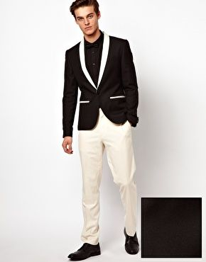 Enlarge ASOS Slim Fit Tuxedo Suit Black Jacket White Pants Shark ...