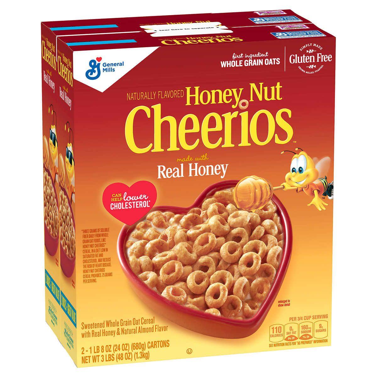 Cheerios Cereal, Honey Nut, 27.5 oz, 2count in 2020