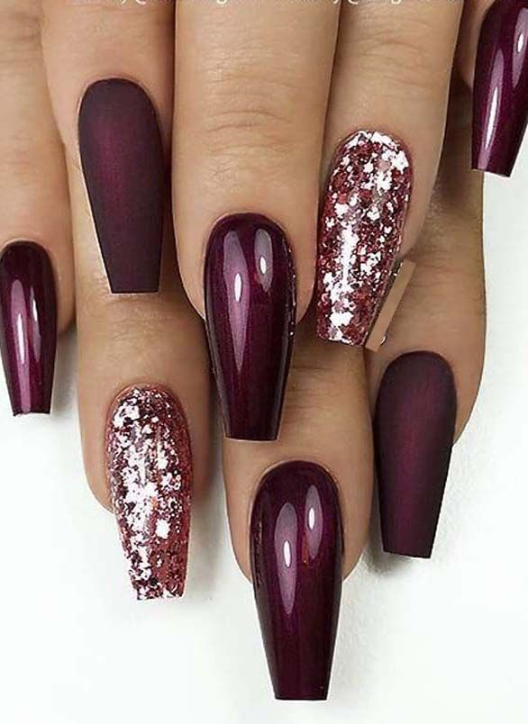 25+> Fantastic Matte & Glossy Long Coffin Nail Designs in 2019 - Brycenda