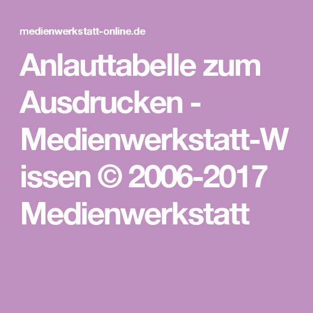 Anlauttabelle Zum Ausdrucken Medienwerkstatt Wissen 2006 2017
