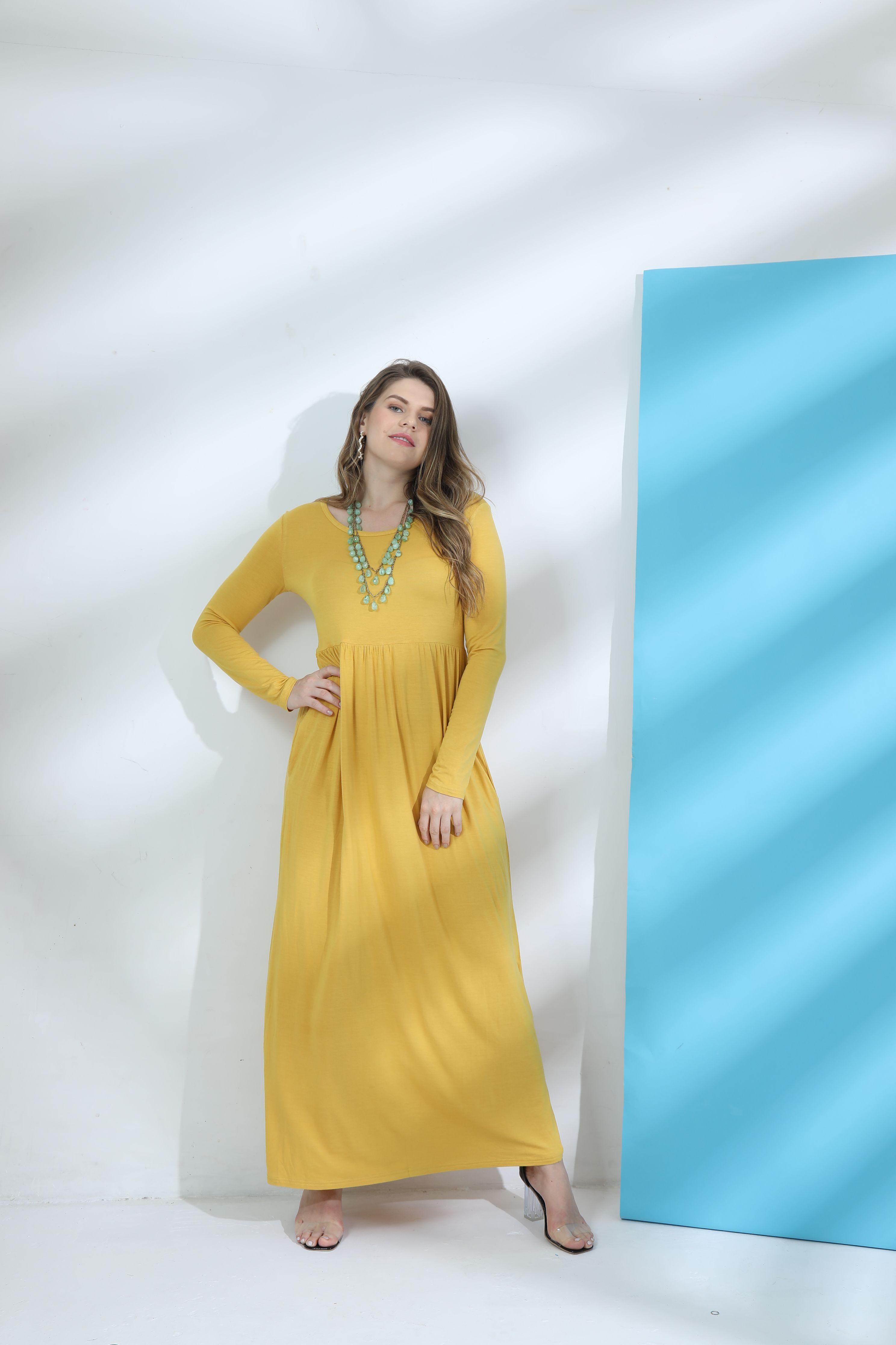 Women casual long sleeve loose plain maxi pockets dresses basic long