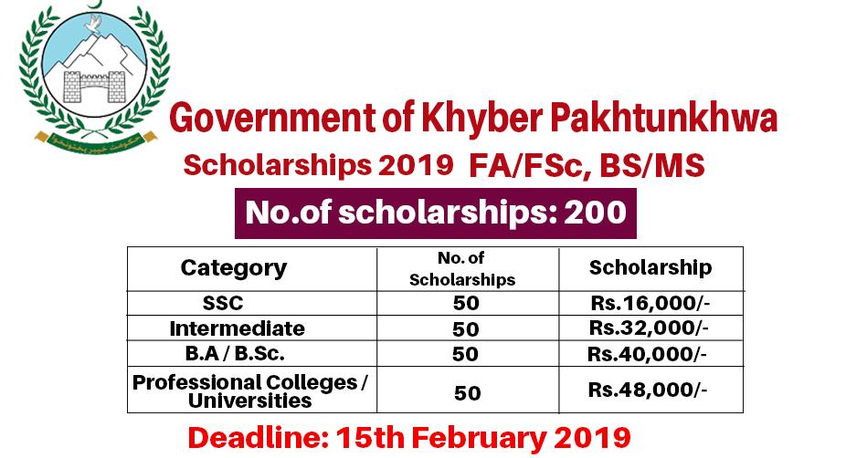 Kpk Government Scholarships 2019 Merit Based Apply Online