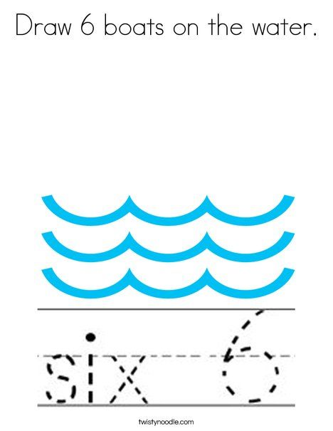 Draw 6 boats on the water Coloring Page - Twisty Noodle | Number ...