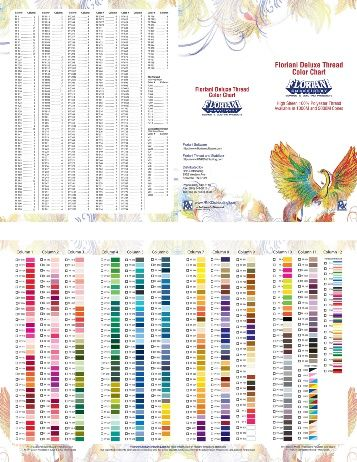 Floriani Deluxe Thread Color Chart Embroidery Thread Color Charts
