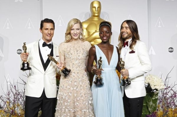 the four winning actors: Matthew McConaughey, Cate Blanchett, Lupita Nyong'o and Jared Leto