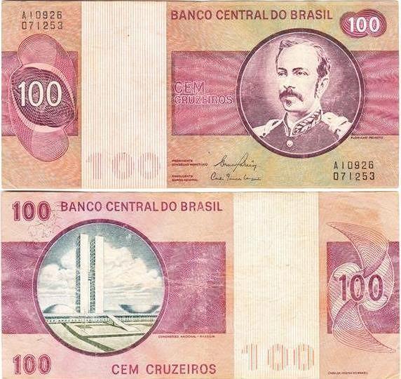 Nota Brasileira De 100 Cruzeiros Coleccao De Notas Da America Do
