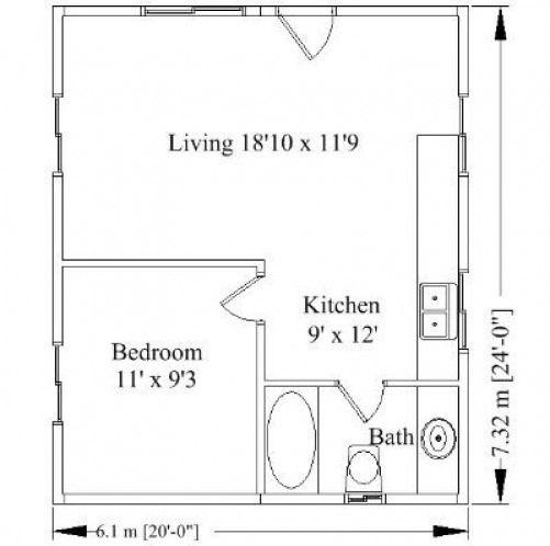 Floor plan for 20 x 24 cabin kit #shedplans | Cabin floor ...