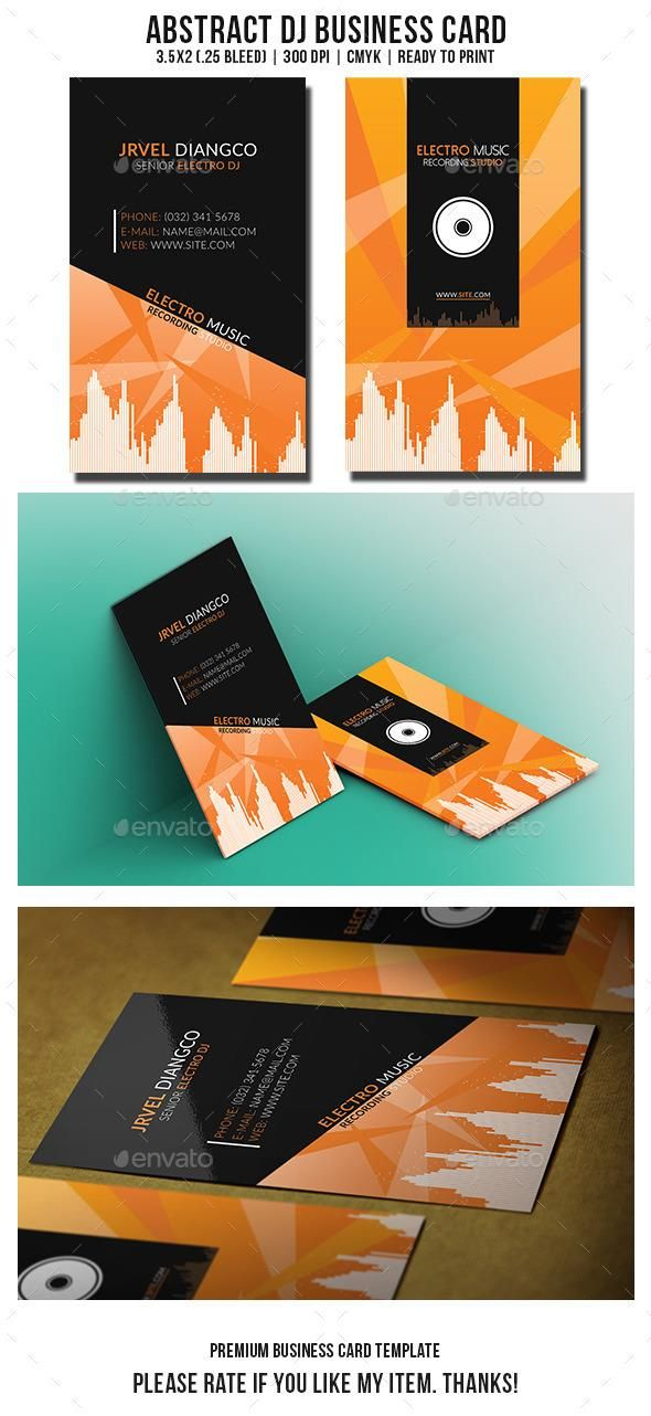 Abstract DJ Business Card Template Creative