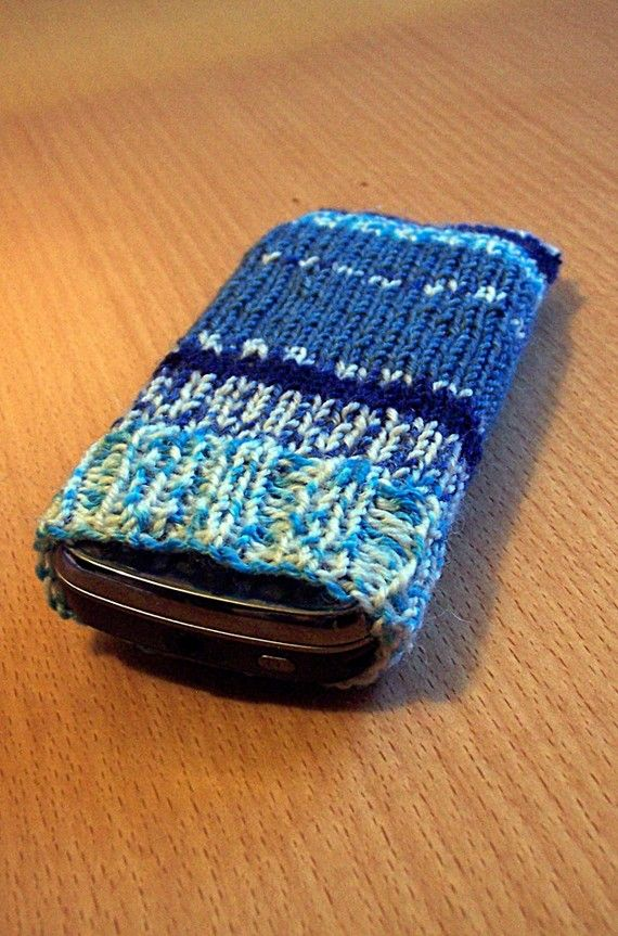 Hand knitted iPhone/ Nokia N97 sock aqua by richesoft on Etsy, $6.00