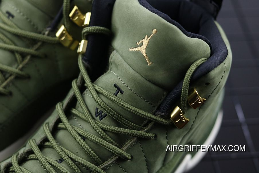 finest selection 31f58 8de18 Air Jordan 12 AJ12 CP3 Paul Olive Green Gold Buckle Suede ...