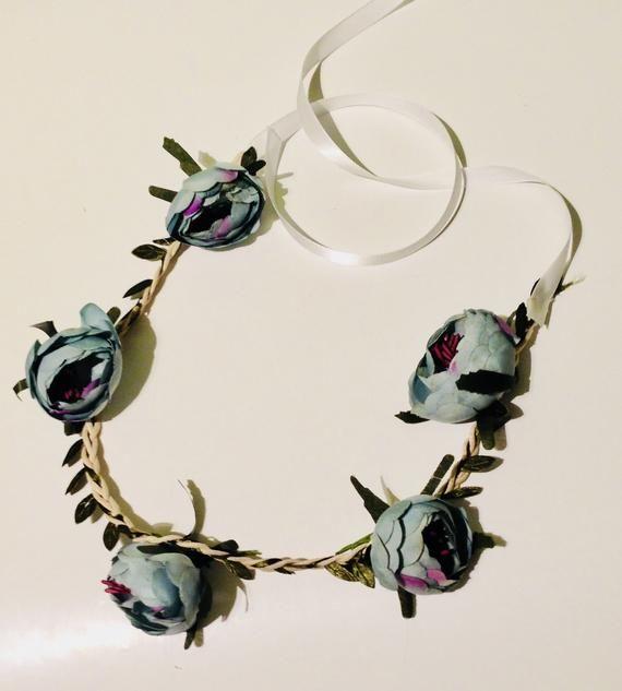 Blue Peony Flower Crown- Wedding Hair Accessory - Girl Accessories - Green Blue Flower Hair Crown #bluepeonies