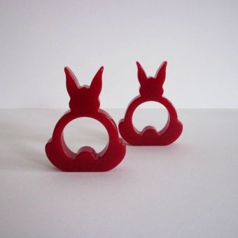 Pair of red Bakelite Napkin Holders USA