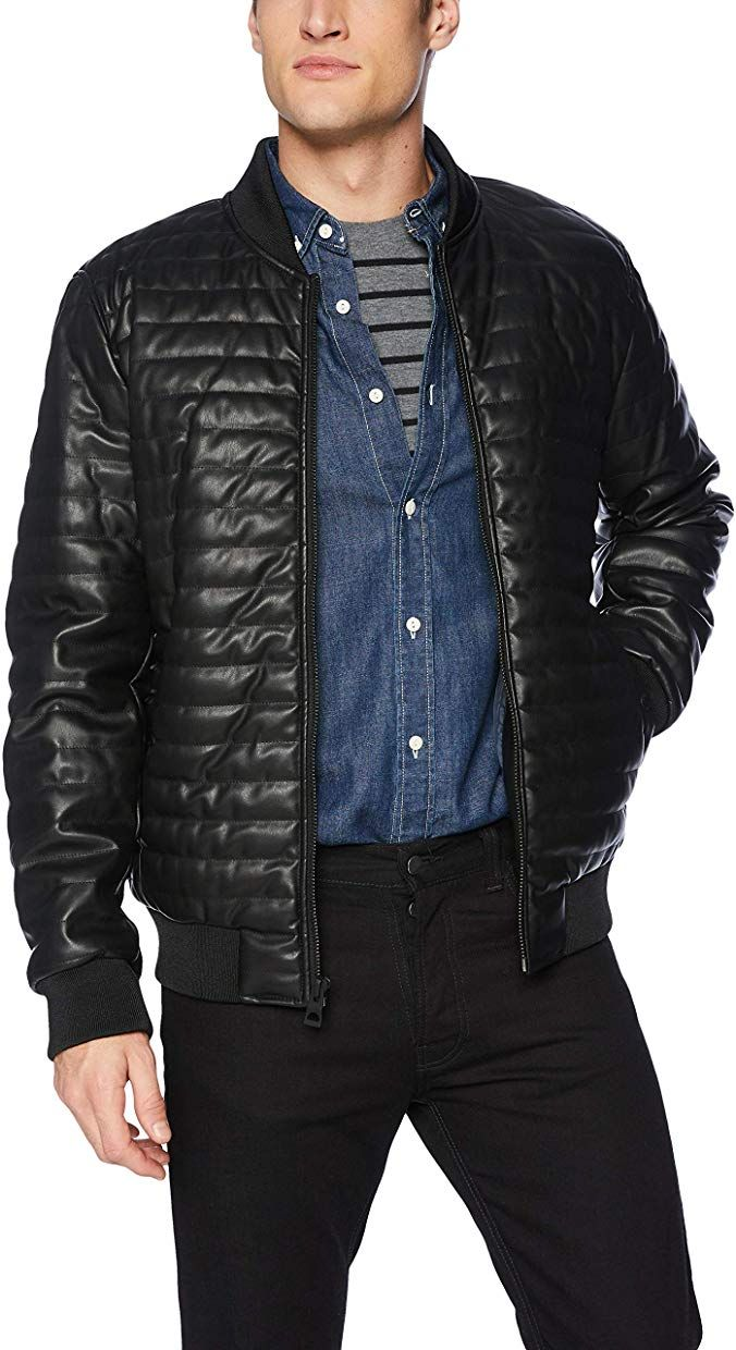 GUESS Men's Faux Leather Quilted Bomber Review Quilted
