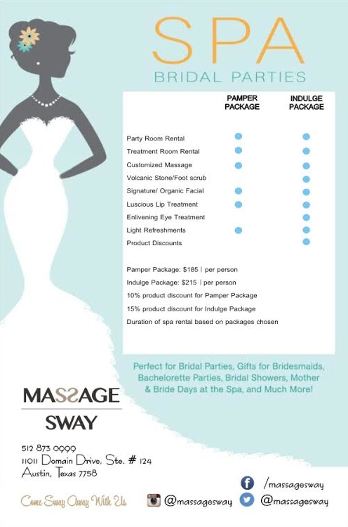 Massage Sway Bridal Packages Call Today For More Information Or To Schedule Your Shower 512 873 0999 Massagesway Bridal S Bridal Packages Bridal Party Spa