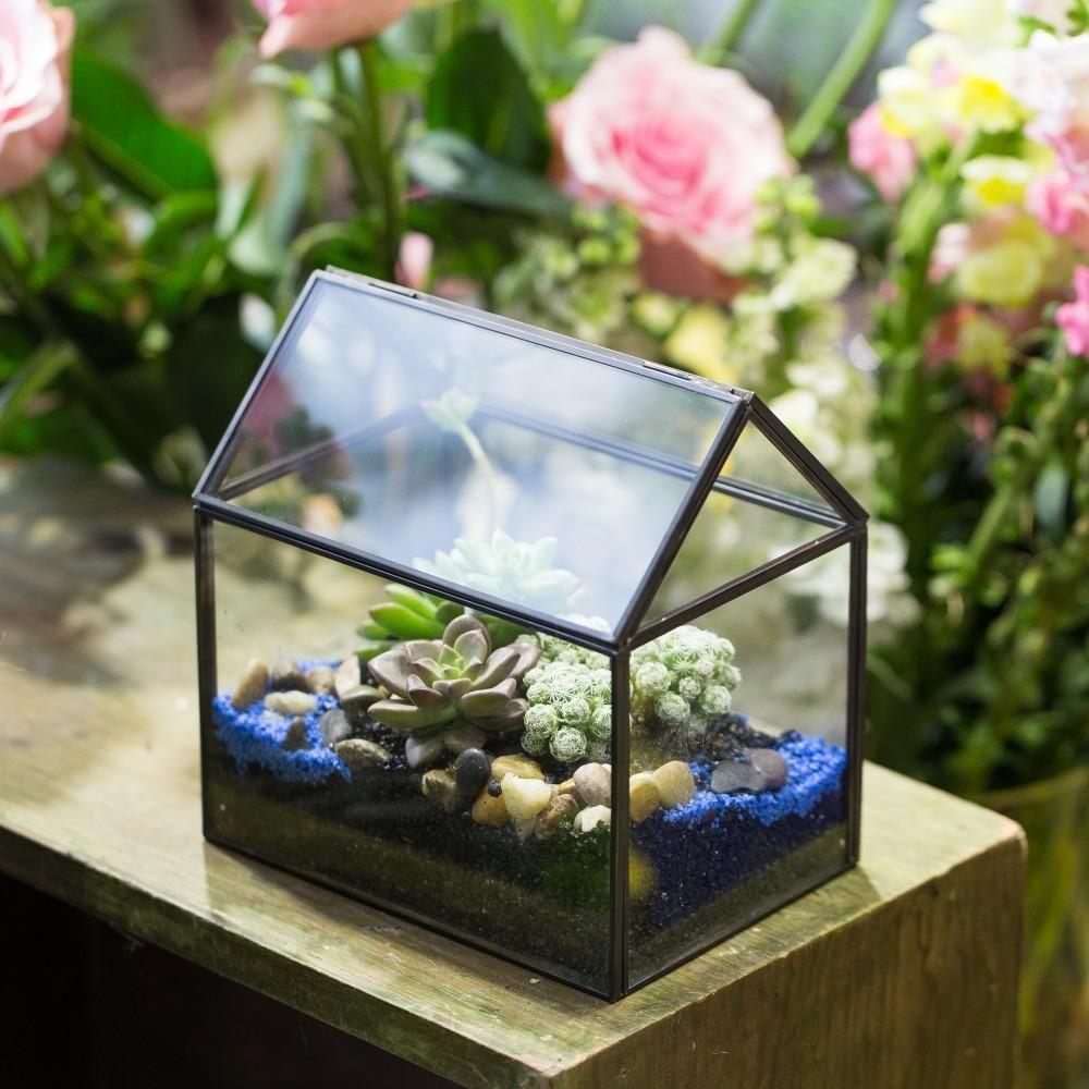 Handmade black gold glass box geometric terrarium with lid