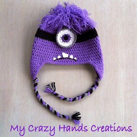 Purple Minion Crochet Hat Evil Minion Hat By Mycrazyhandscreation
