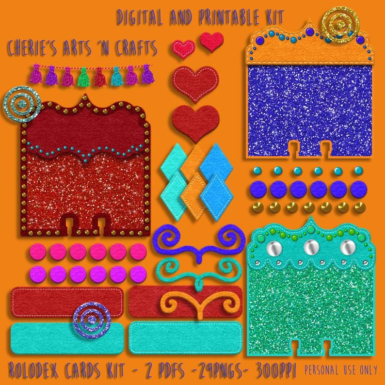 Glitter And Felt Look Dex Cards Kit Rolodex Card Template Etsy Createdaily Create Paper Templates Rolodexcards