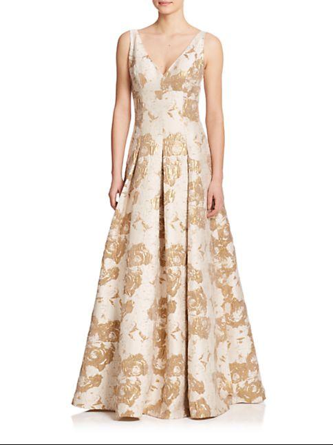 Aidan Mattox Metallic Jacquard Ball Gown | Wedding dress scrapbook ...