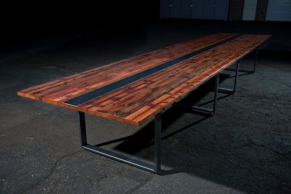 $3000 Reclaimed Heart Redwood Dining or Conference Table // Handmade Steel Legs ...,  #Conference #Dining #handmade #Heart #Legs #officeinteriormeetingroomconferencetable #reclaimed #Redwood #steel #Table