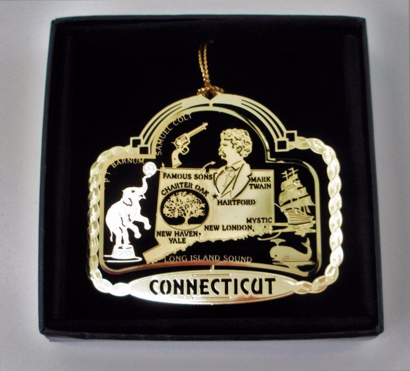 Connecticut State Landmarks Brass Ornament  Black Leatherette Gift Box #ILoveMyState - Start a family tradition of collecting ornaments for places you've lived or visited.  It makes for sentimental memories when you hang them on the Christmas tree each year and remember that special time in your lives.  Many of our customers collect the same ornaments for their children's hope chest, so they will have a meaningful gift to give them when they move into their first apartment or home.
