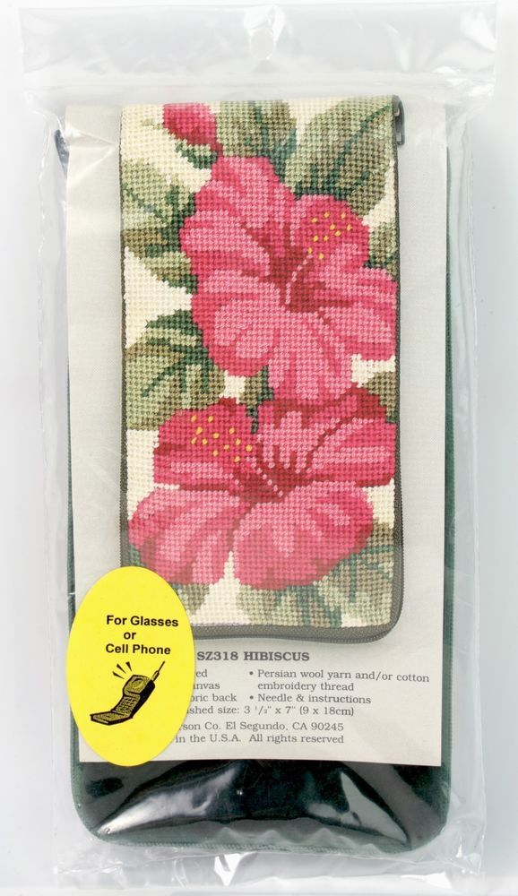 NEW Stitch & Zip Needlepoint Eyeglass Case Hibiscus Pink Green Stocking #AlicePeterson