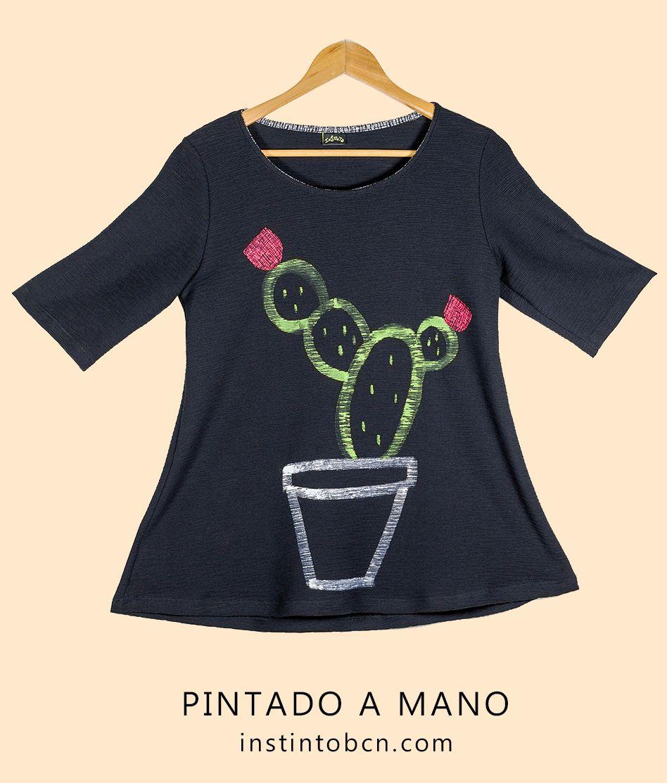 De Pintada Dibujo Un Con A Mano Camiseta Algodón El Cactus hQrtsd