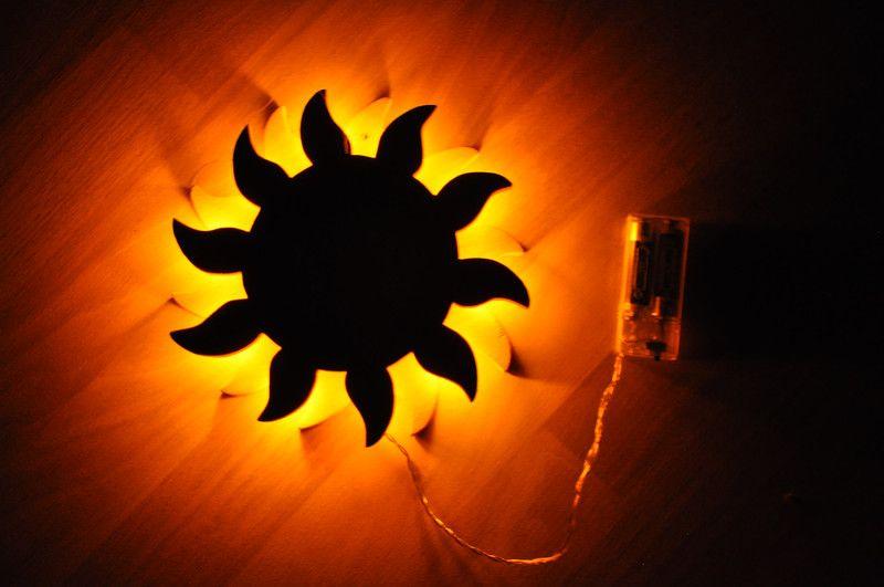 Sonnenlampe klein mit LED und Batterie orange von Holzarbeiten auf ...