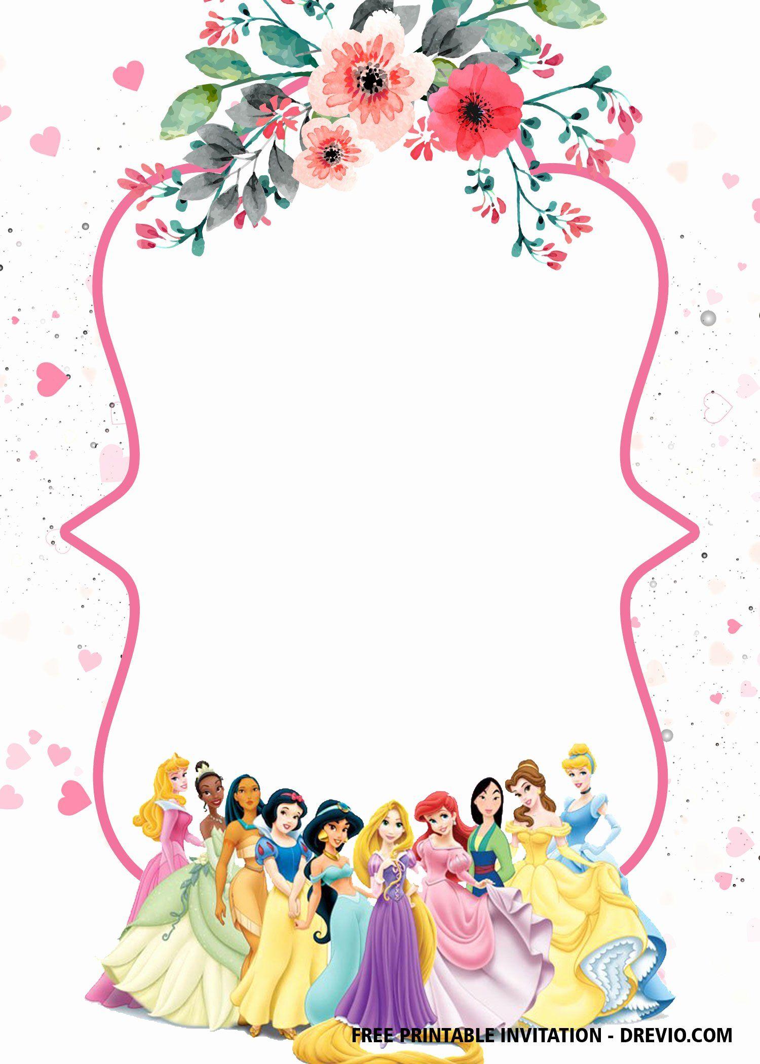 Disney Princess Invitation Templates Free Luxury Free Printable Disney Princesses In 2020 Princess Party Invitations Princess Invitations Princess Birthday Invitations
