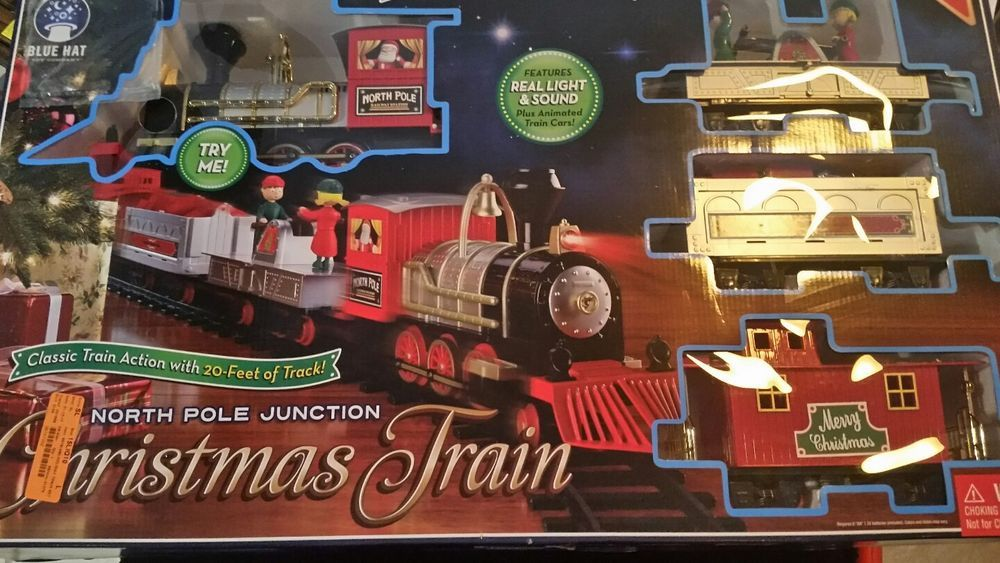 2016 blue hat north pole junction christmas train w lights sounds box see pics - North Pole Junction Christmas Train