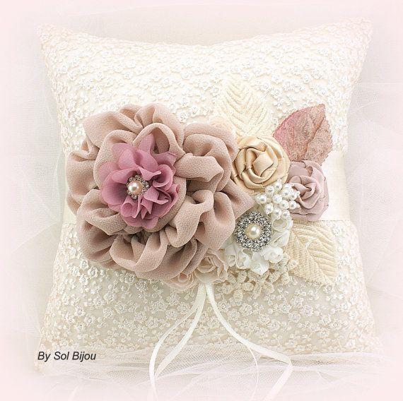Ring Bearer Pillow Flower Girl Basket Set Gold Ivory Pink Blush Elegant Vintage Style Lace Wedding Basket Ring Cushion